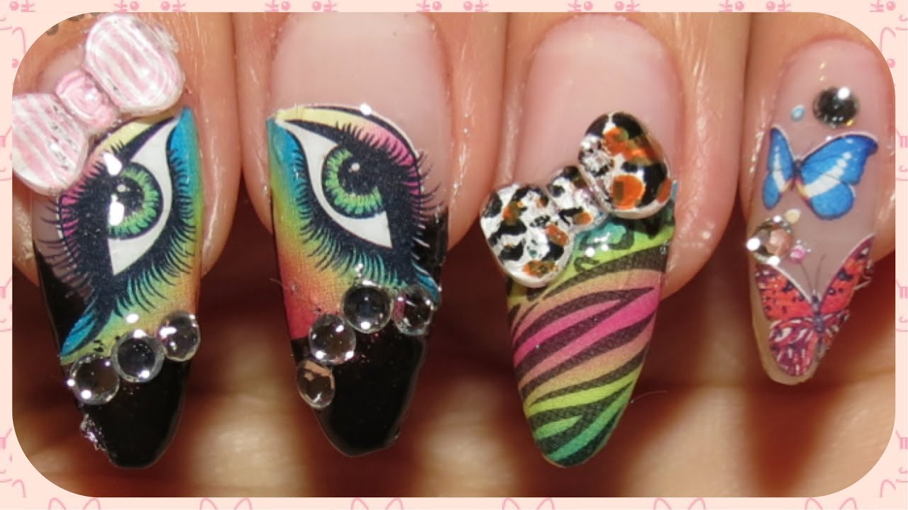 Water Decals and 3D Animal Print Bows in a Kawaii Nail Design ...