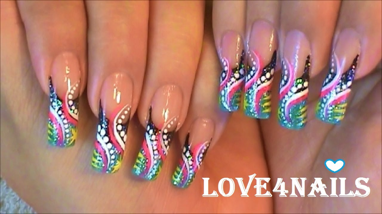 RETRO FREESTYLE Nail Art Design Tutorial - YouTube
