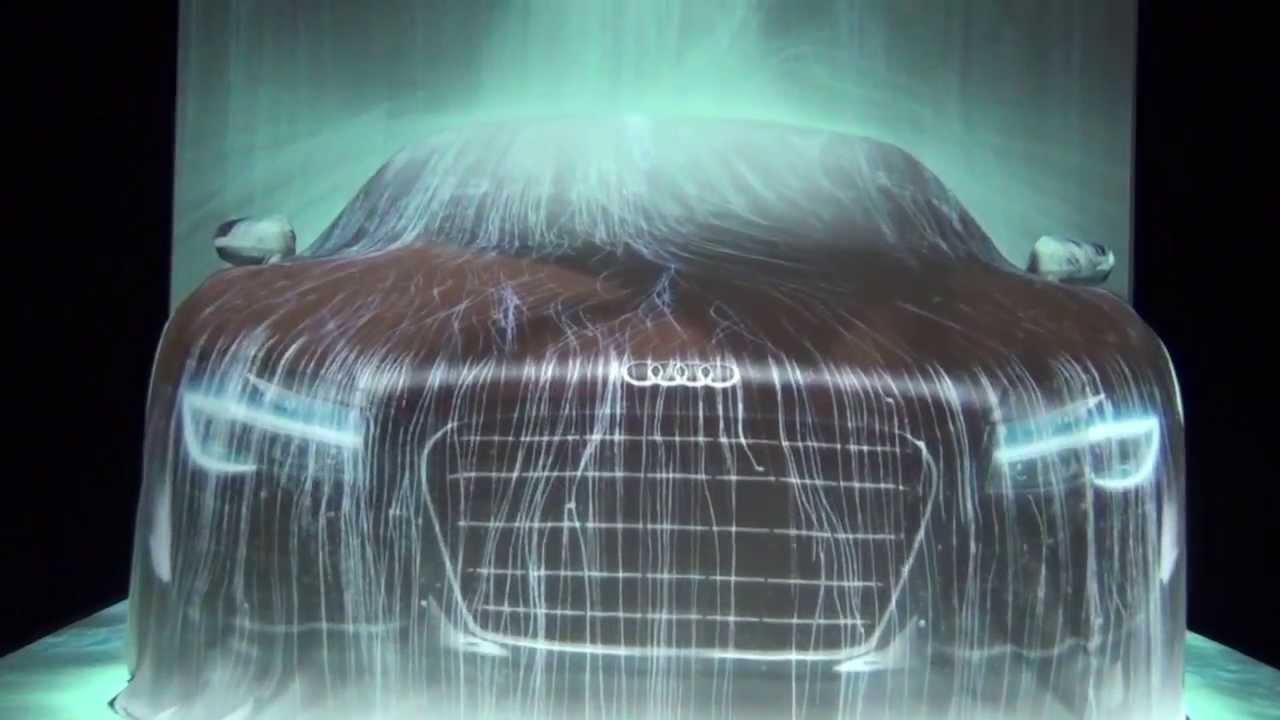 幻想的すぎる!アウディに滝のプロジェクションマッピング team lab exhibit at Audi Forum Tokyo 「The Waterfall on Audi R8」
