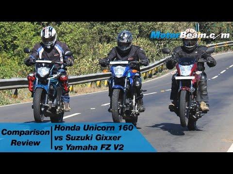 Honda Unicorn 160 vs Suzuki Gixxer vs Yamaha FZ V2 - Comparison Review | MotorBeam