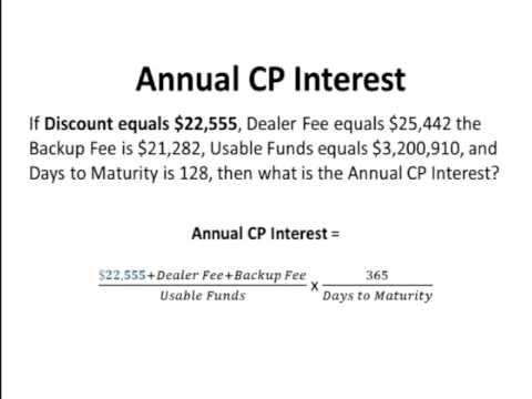 Certified Treasury Professional Commercial Paper Interest Calculation example