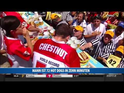 Mann ist 72 Hot Dogs in zehn Minuten