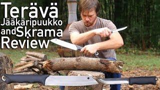 Terävä Skrama and Jääkäripuukko Knife and Chopper Review.  With Classical Music and Slow Mo.