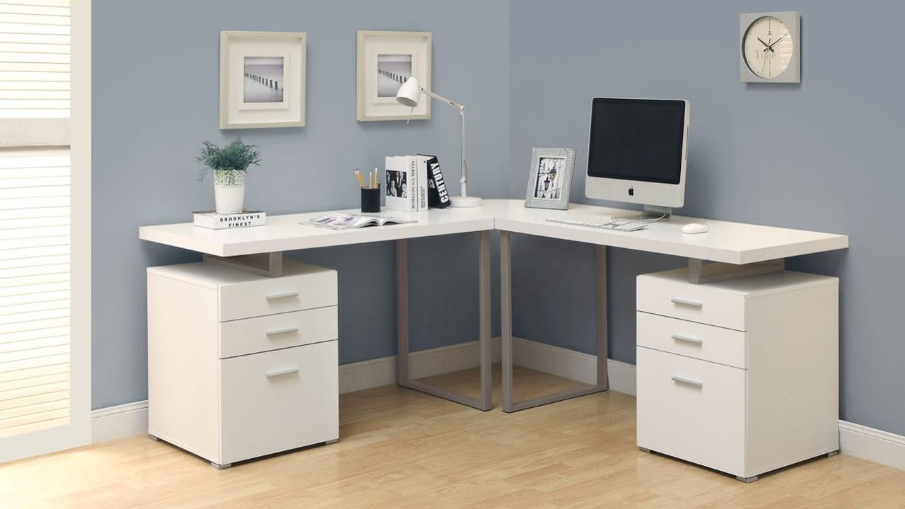 Modern White Desk with Drawers Furniture  YouTube