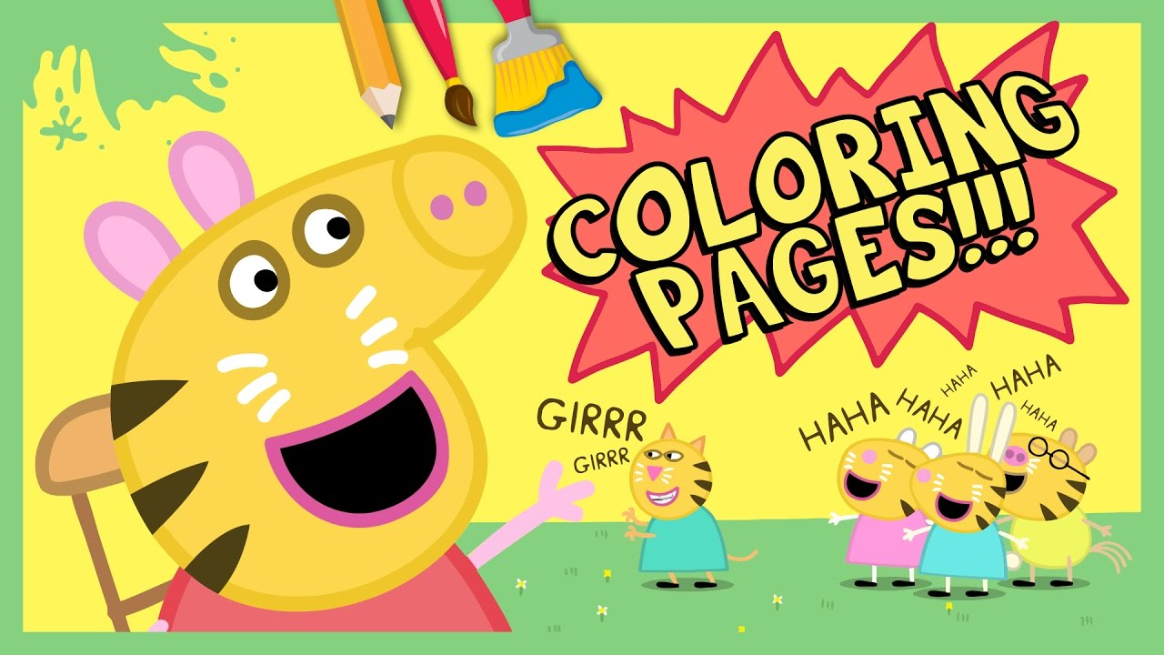 New Peppa Pig Coloring Pages : Mrs Rabbit Colors the Face of Peppa ...