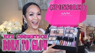 NYX BORN TO GLOW PALETTE & DUO CHROMATIC LIPGLOSSES SWATCH AND TRY ONS