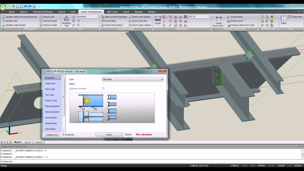advance steel 2013 intelligent manual dimensions on a workshop rh youtube com Steel Detailing Software Steel Detailing AutoCAD