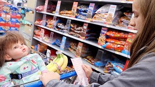 Grocery Shopping with Reborn Toddler and Reborn Baby at Walmart and Shopping Haul