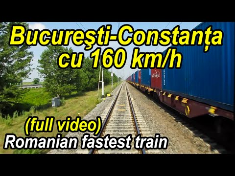 Bucuresti-Constanta 160 km/h-full video-record de viteza la CFR-romanian fastest train ride-Zugfahrt