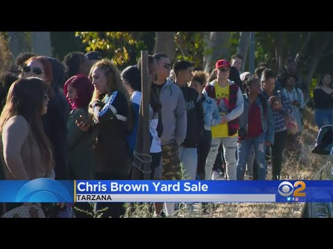 Fans Flock To Quiet Tarzana For Yard Sale At Chris Brown's House