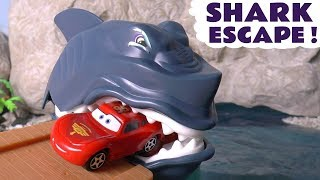Disney Pixar Cars McQueen Shark Escape with Hot Wheels Cars and Superheroes
