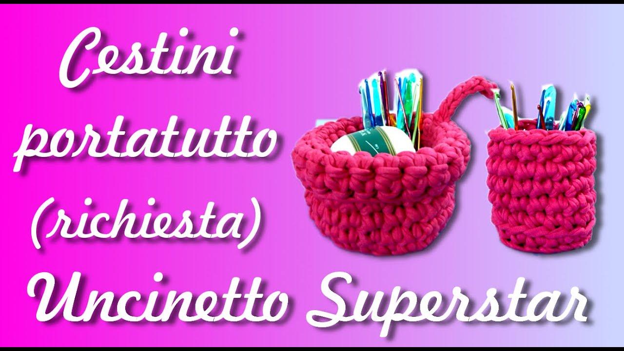 Tutorial cestino a uncinetto richiesta diy crochet - Cestini all uncinetto per il bagno ...