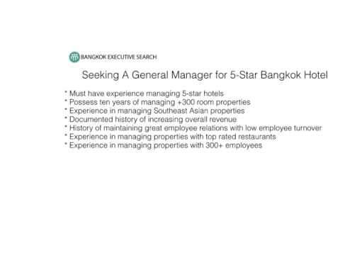 Bangkok's Top Recruiting Firm Seeks General Manager
