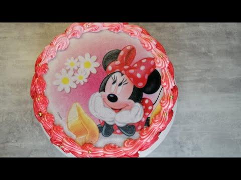 Как нанести Вафельную картинку на торт Микки