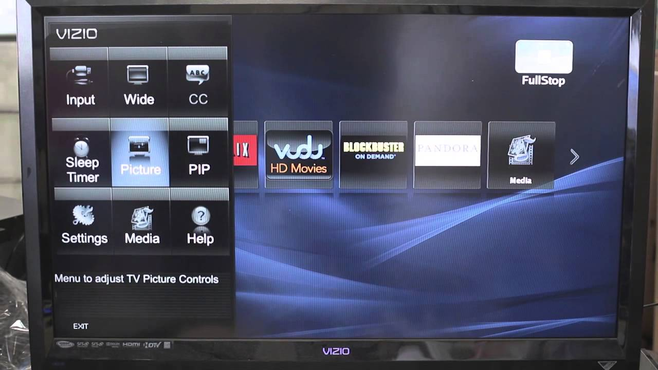 how to get full screen on vizio tv