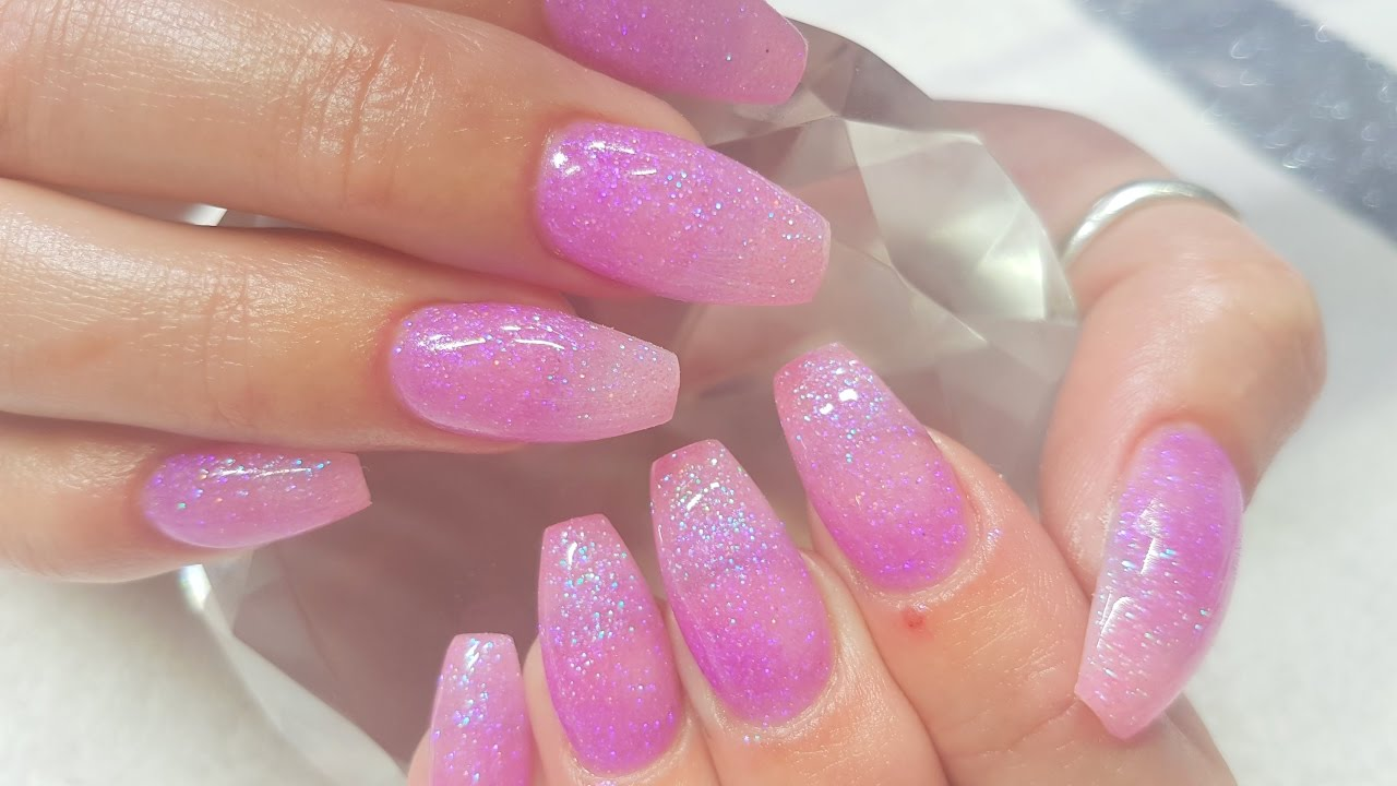acrylic infill pink amp purple ombre glitter acrylics youtube