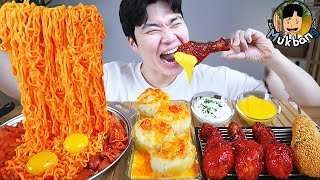 ASMR MUKBANG 불닭볶음면 & 치즈 & 양념 치킨먹방! FIRE Noodle & FRIED CHICKEN & CHEESE STICK EATING SOUND!