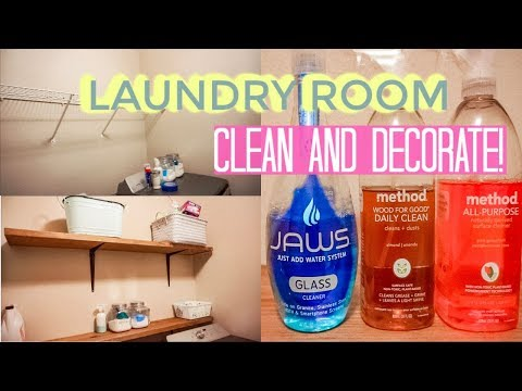 CLEAN AND REDECORATE MY LAUNDRY ROOM// DIY WOOD RUSTIC SHELVES/Heather McCarthy