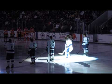 Penn State ice hockey goalie Matt Skoff being introduced at Pegula Ice Arena