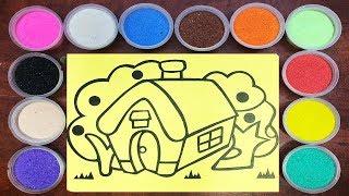 Đồ chơi TÔ MÀU TRANH CÁT NGÔI NHÀ & CÁI CÂY - Sand painting house toys for kids (Chim Xinh)