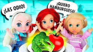❌ ¡Las BEBÉS Rapunzel, Elsa y Ariel NO quieren VERDURAS! ► 🌙 Novelas con muñecas y juguetes