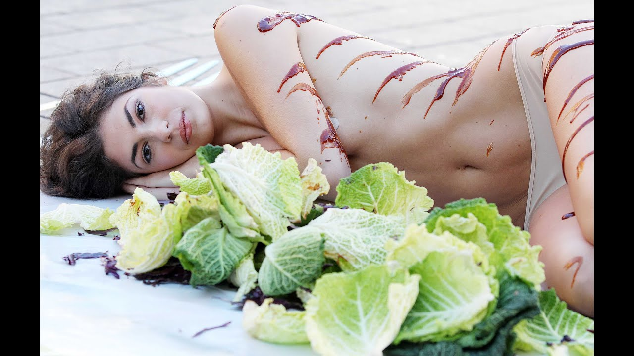 Have naked woman covered in food abstract