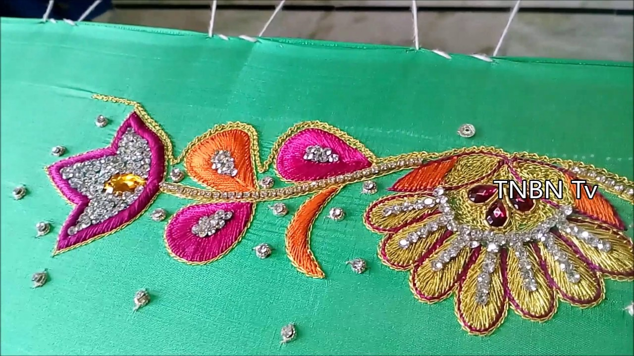 Simple maggam work blouse designs basic embroidery