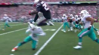 Patriot's RB LeGarrette Blount FLIES over Dolphins' CB Byron Maxwell
