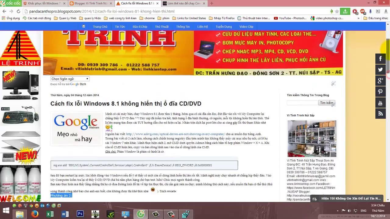 Fix Lỗi Không Nhận Ổ CD/DVD Trong WIndows 8