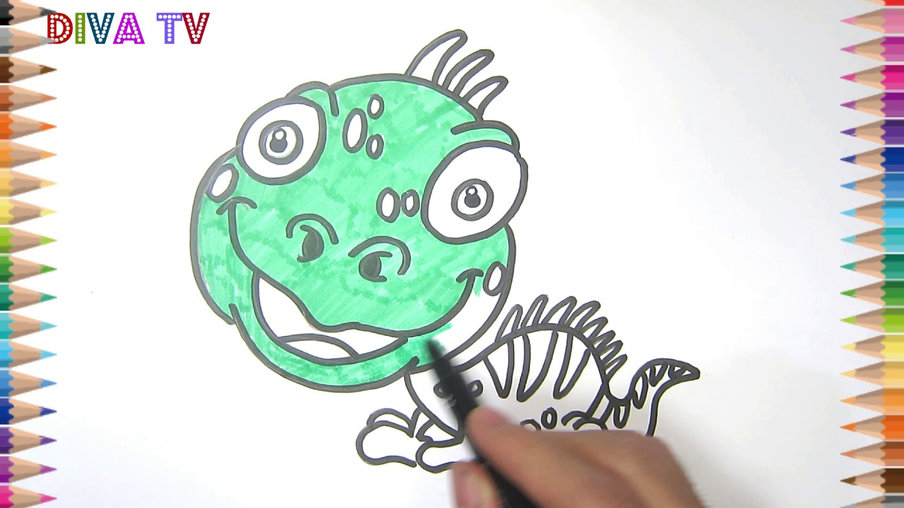 how to draw a cartoon iguana step by step for kids nursery rhymes ...