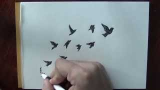 A quick drawing of a doves flock