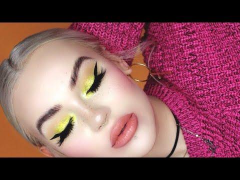 yellow glitter eye / full face makeup tutorial