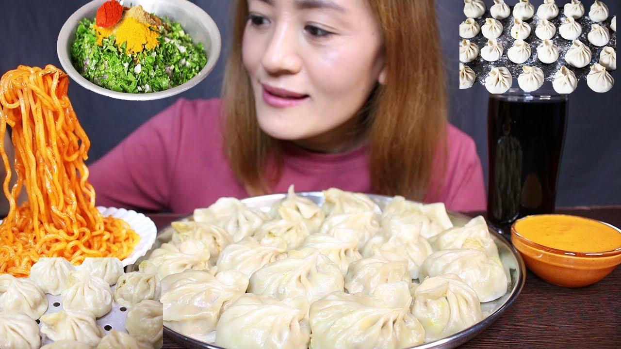 Download EXTREME Spicy Big Chicken MOMO/DUMPLINGS & Hot/Spicy Current Ramen Noodles + Coke *Recipe* #MUKBANG