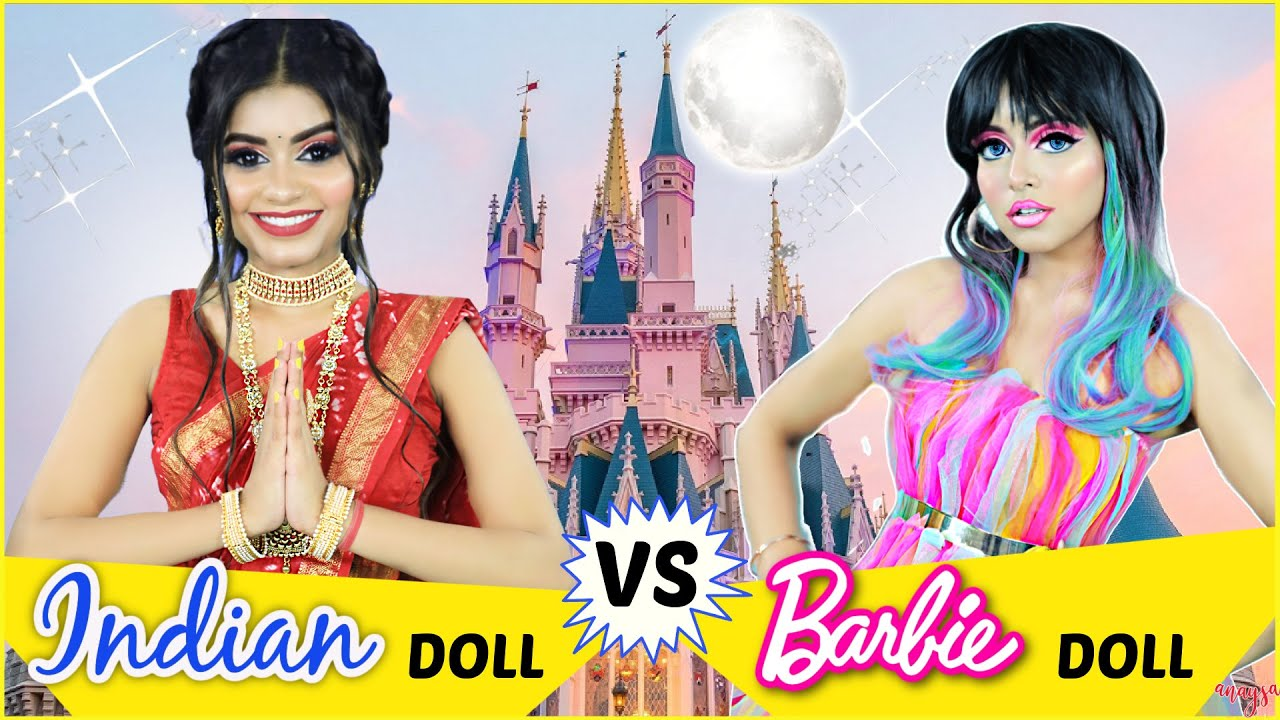 INDIAN Doll vs FOREIGNER Doll Makeup Challenge | Beauty Battle | Anaysa