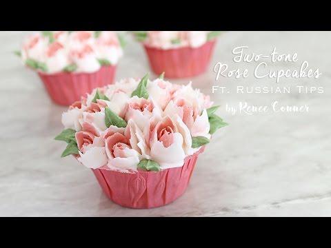 Rose Cupcake ft. Russian Piping Tip | Renee Conner
