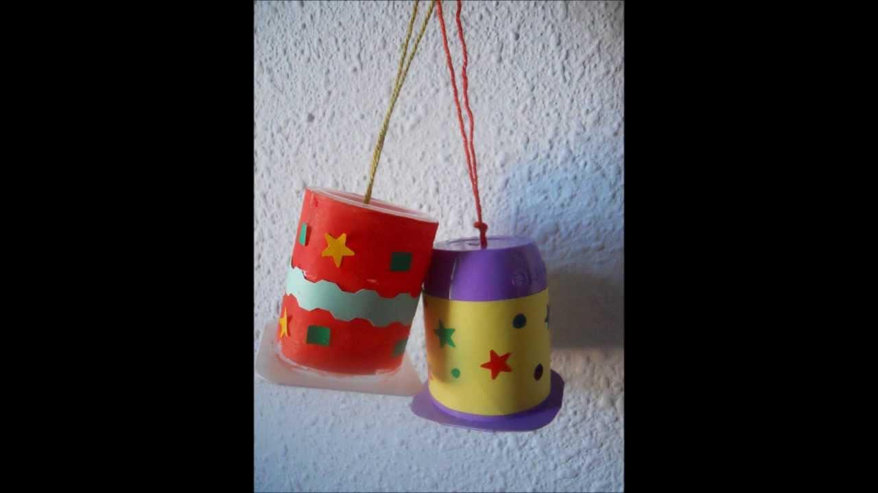 Campanas de navidad con yogures youtube - Manualidades con vasos de plastico ...