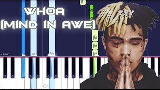 XXXTENTACION - whoa (mind in awe) Piano Tutorial EASY (SKINS) Piano Cover