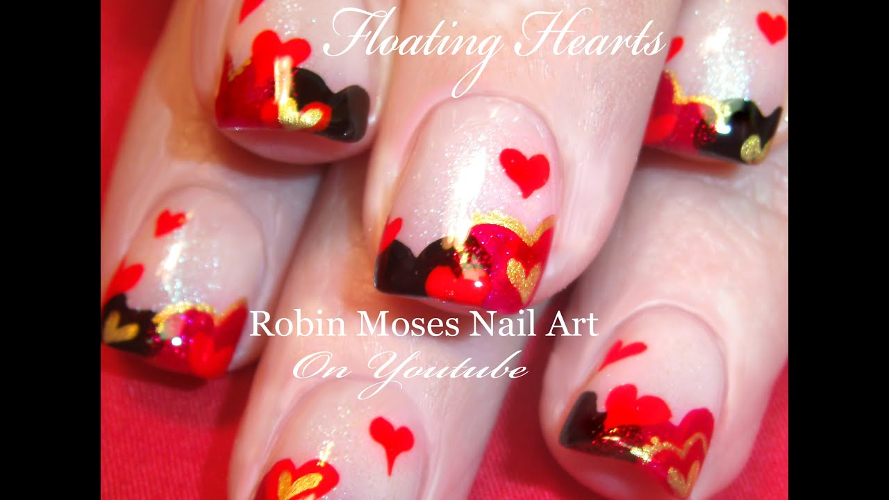 Easy Valentine\'s Day Nails | Cute Floating Hearts Nail Art Design ...
