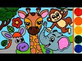 Animal giraffe Jelly Coloring & Painting | Nama dan Suara Hewan Ternak, Pembelajaran Anak anak
