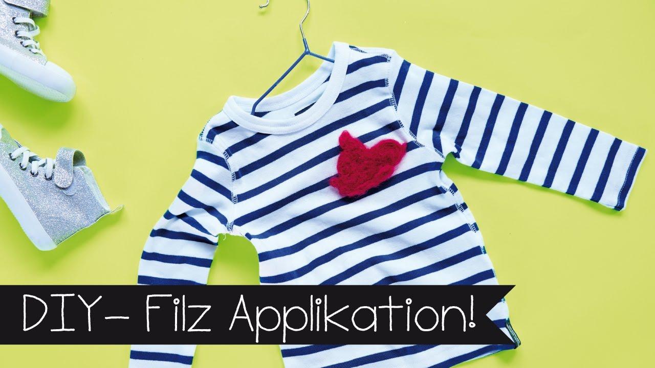 basteln filz applikation basteln mit kindern i selber machen shirt pimpen youtube. Black Bedroom Furniture Sets. Home Design Ideas