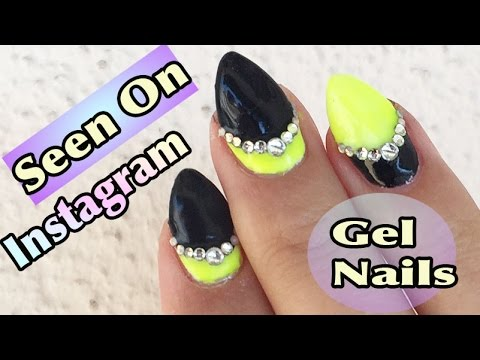 Instagram Nails Black And Neon Green Gel Design - YouTube