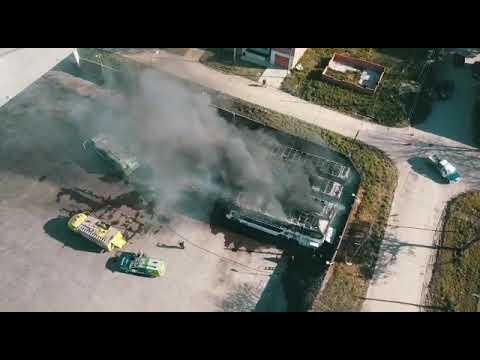 Incendio micros Empresa Argentina 2
