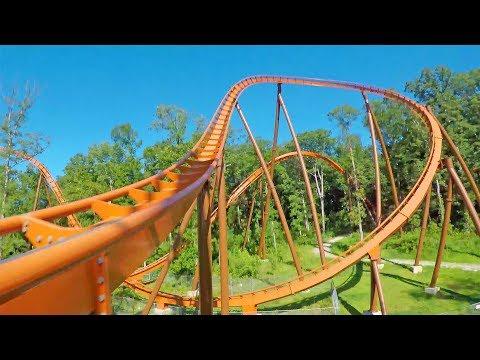 4K AMAZING Thunderbird Roller Coaster Front Seat POV Right Side Holiday World Theme Park