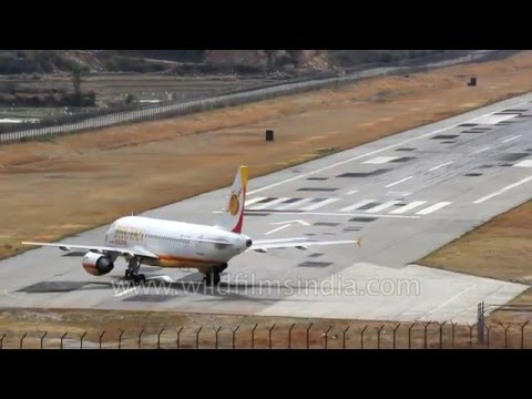 Airbus A319 from Delhi lands with a roar at Paro Airport in Bhutan