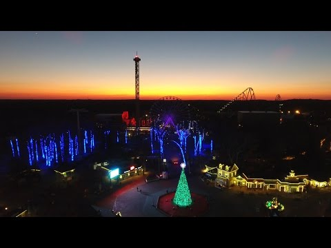 Drone view of Six Flags Holiday in the Park light display