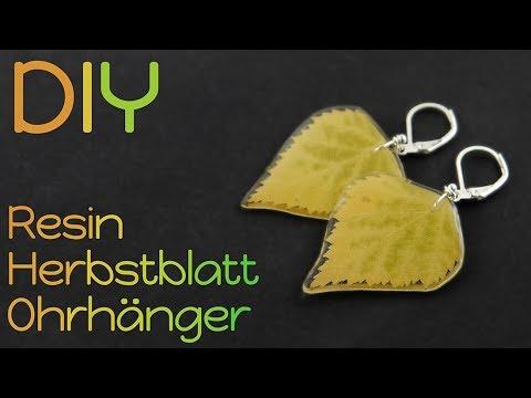 Herbst Blatt Ohrringe mit Resin   Gießharz Natur Schmuck DIY   E40D Epoxidharz Blätter Ohrhänger