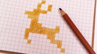 МОИ РИСУНКИ ПО КЛЕТОЧКАМ - ОЛЕНЬ   Pixel Art - Простые рисунки НОВЫЙ ГОД