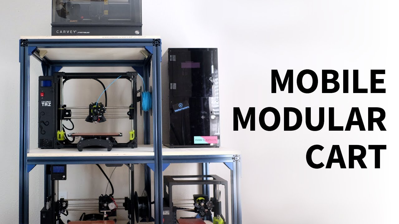 Modular Rolling 3d Printer Cart Using T Slot Extrusions