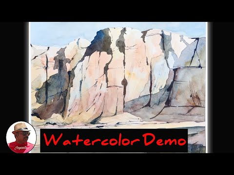 Desert mountain landscape painting | Watercolor painting tutorial