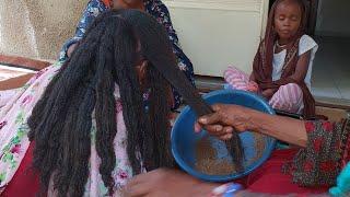 Chébé powder application on type 4 hair